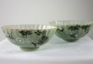 Pair Of Antique Chinese Hand Painted Celadon Rice Bowl photo