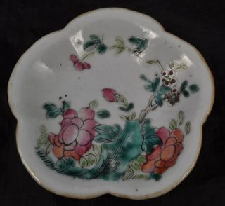 Antique Chinese Export Porcelain Painted Small Stand Tongzhi Qing Era 19th Cen photo