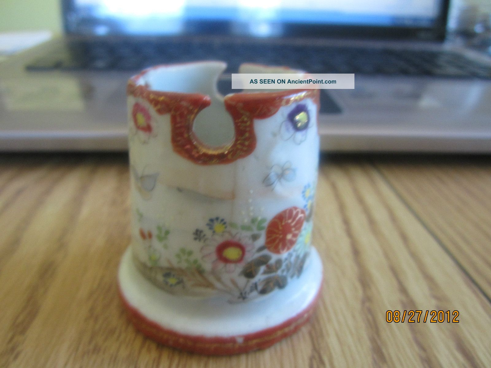 Antique Asian Pottery Small Vase Or Holder Cup Hand Painted Flowers on gold sg, gold post, gold lv, gold mc, gold greenland, gold ad, gold cat, gold co, gold na, gold ax,