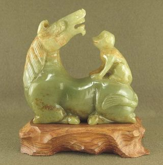 Stunning With Carved Chinese Old Jade Statue Monkey Play Horse photo