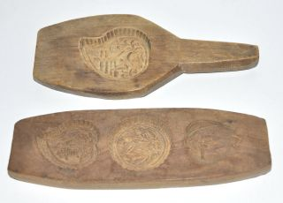 Antique Chinese Moon Rice Cake Mold Lot 2 Hand Carved Wood Floral Fruit Designs photo