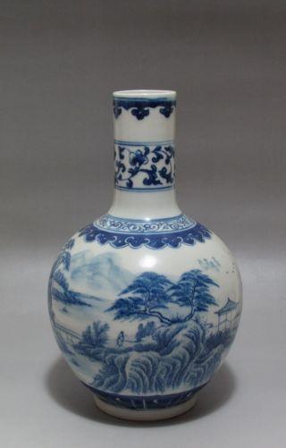 Fine Chinese White&blue Porcelain Scenery Vase photo