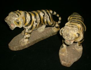 Antique Pair Of Tigers Statue Burma/burmese Wooden photo