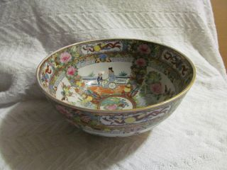 Signed Asian Famille Chinese Large Bowl Flowers,  Oriental Bowl, photo