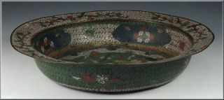 Large Antique Chinese Ming Dynasty Cloisonne Bowl W/ Fish photo