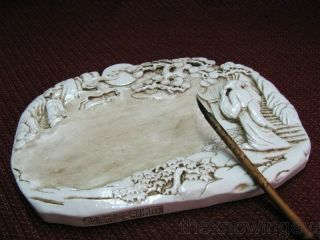 Chinese White Porcelain Carved Inkwell / Brush Washer photo