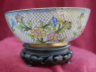 Vintage Chinese Cloisonne Plique A Jour Bowl photo
