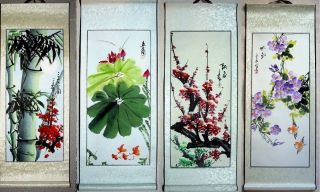 4 Japanese Calligraphy /paintings Scroll Flower & Bamboo 930 photo