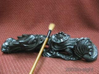 Chinese Rosewood Carved Dragon Shape Pen Stand photo
