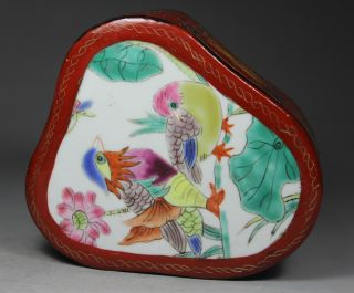 Chinese Handwork Painting Flower Bird Old Lacquer Jewel Box photo