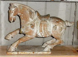 Rare Carved Galloping Wood Horse - Late Tang Period photo