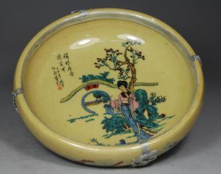 Chinese Handwork Painting Belle Flower Old Porcelain Ashtray photo