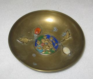 Bronze Trinket Tray Chinese Antique Enamel & Floral Decor Or Ash Tray photo