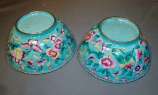 Pair Antique Chinese Cloisonne Famille Rose Bowls photo