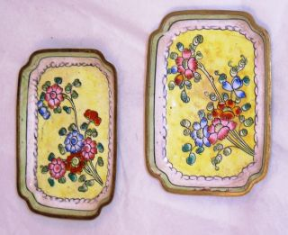 Vintage Pair Of Chinese Enamel Dishes C24 photo