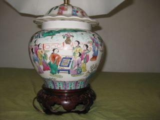 Antique Rare Chinese Porcelain Vase Lamp photo