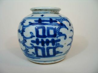 Antique Chinese Blue And White Porcelain Small Jar,  Late Qing Dynasty photo