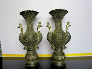 A Pair China Antique Bronze Peacock Statues Vases photo