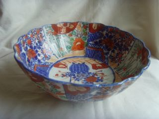 19th Century Meiji Period Arita Imari Scalloped Edge Porcelain Bowl photo