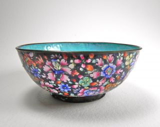Vintage Chinese Export Hand Painted Enameled Florals On Metal Rice Bowl Aqua photo