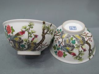 Fine A Pair Chinese Famille Rose Porcelain Flowers & Birds Bowls photo