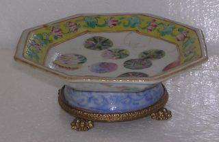 19th Century Chinese Porcelain Small Bowl Metal Mountings photo
