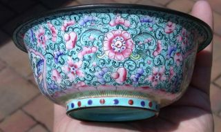 18 Or 19th Century Chinese Canton Enamel Bowl photo