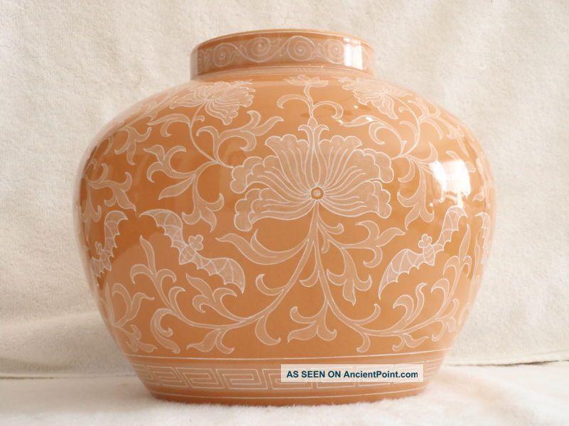 Vintage China Artistic Ceramics Co.  Porcelain Orange & White Art Pottery Vase Vases photo