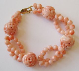 Fine Old Chinese Carved Pierced Coral Bead 14k Yellow Gold Bracelet photo