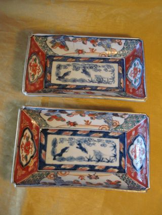 Pair Vtg Chinese All Hand Painted Rectangular Tray/bowls W Blue/white Tree Scene photo