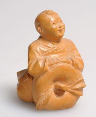 20c Signed Japanese Netsuke Carved Wood Happy Boy W Pumpkin 5.  7 Cm Small photo