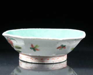 Antique Chinese Export 19th C Octagonal Footed Bowl Aqua Rooster Flowers photo