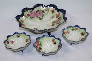 Porcelain Bowl With 3 Serving Dishes Hand Painted Made In Nippon photo