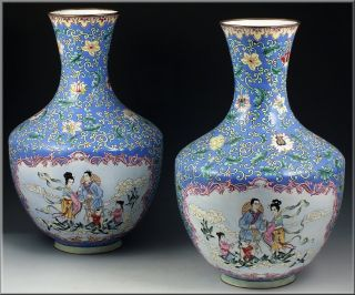 Large Pair Of 19th Century Antique Chinese Enamel On Copper Vases photo