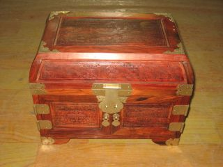 Exquisite Vintage Chinese Red Wood Jewelry Box photo