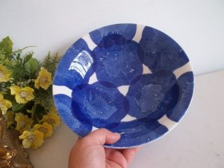 Vintage Chinese Pottery Dark Blue Tissue Paper Flowers Ceramic Footed Bowl photo