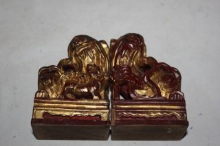 Rare Pair Antique Chinese Qing Dynasty Wood Lions photo