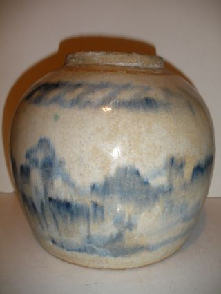 Antique 19th Or Early Chinese Vase Bowl Jar Decorated Pottery Glaze photo