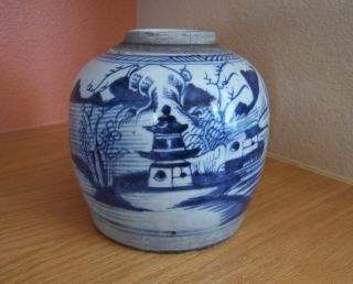 Antique Chinese Ginger Jar,  Traditional Canton Style,  Blue & White Design photo