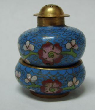 Blue Chinese Cloisonne Enamel And Brass Open Salt Cellar Dish & Pepper Shaker photo