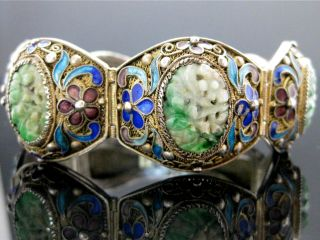 Antique Qing Dynasty Jade (jadeite) Chinese Cloisonne Silver Filagree Bracelet photo