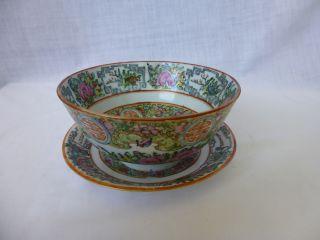 Vintage,  C1920,  Famille Rose/rose Medallion,  Dessert Bowl And Saucer photo