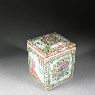 Antique 19th C Chinese Export Square Box Lid Rose Medallion Herb Tea Canister photo