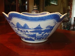 Antique Chinese Blue And White Square Bowl,  19th C photo