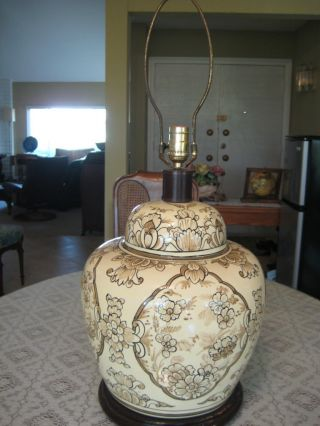 Large Rare Old Antique Chinese Hand Painted Flower Vase Lamp W/wooden Base photo