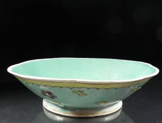 Antique Chinese Export 19th C Octagonal Footed Scallop Rim Bowl Aqua Flowers photo