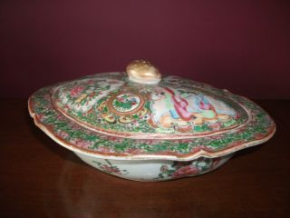 Antique 19th Century Chinese Rose Mandarin Bowl With Lid / Covered Dish photo