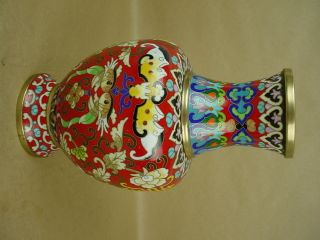 Chinese Cloisonné - Vintage Red Vase 8
