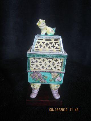 Vintage Chinese Hand Painted Porcelain Incense Burner photo