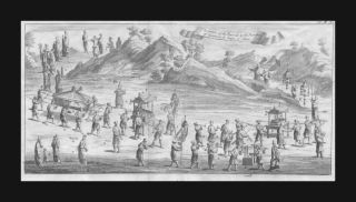 Chinese Funeral Procession,  By Churchill,  Antique Engraving, ,  1732 photo